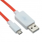 TLG-021 USB 2.0 to V8 High-speed Intelligent Light Cable - White + Red (95cm)