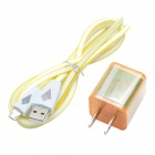 CHEERLINK USB 2.0 to Micro USB Light Triangular Cable + 1A / 2.1A 2-USB Adapter for Samsung - White