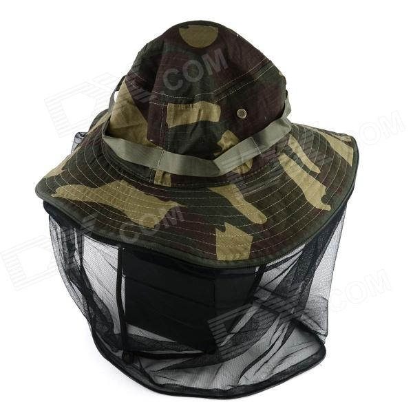 YUSHAN Outdoor Large Brimmed Hat w/ Gauze - Army Green Camouflage king rivet flat brimmed hat black golden