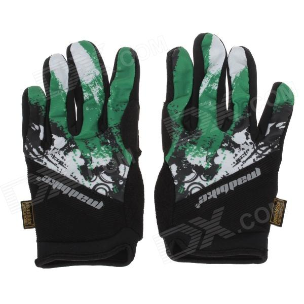 Mad Bike SK-10 Outdoor Sport Anti-slip Bike Cycling Full-finger Gloves - Green + Black (Size-M)