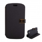 Protective PU Leather Case Cover Stand w/ Dual Card Slots for Samsung Galaxy S3 i9300 - Black