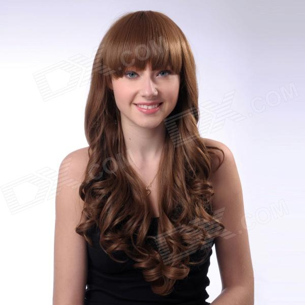 Fashion Synthetic Wave Long Hair Wig - Coffee