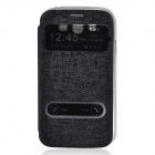 PU Leather Case Stand w/ Visual Window / Slide to Unlock for Samsung Galaxy Grand Neo i9060 - Black