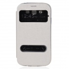 PU Leather Case Stand w/ Visual Window / Slide to Unlock for Samsung Galaxy Grand Neo i9060 - White
