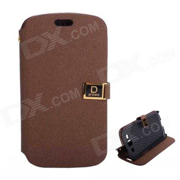 Protective PU Leather Case Cover Stand w/ Dual Card Slots for Samsung Galaxy S3 i9300 - Brown cool snake skin style protective pu leather case for samsung galaxy s3 i9300 brown
