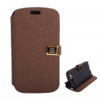 Protective PU Leather Case Cover Stand w/ Dual Card Slots for Samsung Galaxy S3 i9300 - Brown