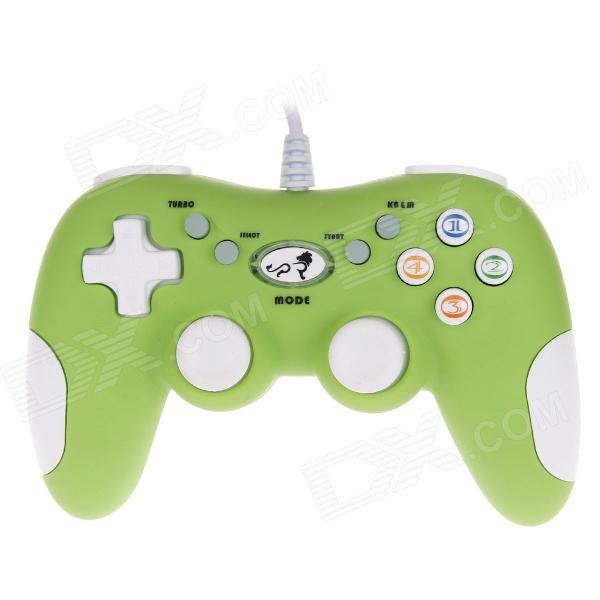 LION KING LK- 811S Professional Online Gamepad Dual Shock USB Joystick for PC - Green + White