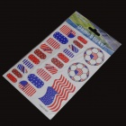 2014 World Cup USA Flag Design Nail Stickers - Blue + Red