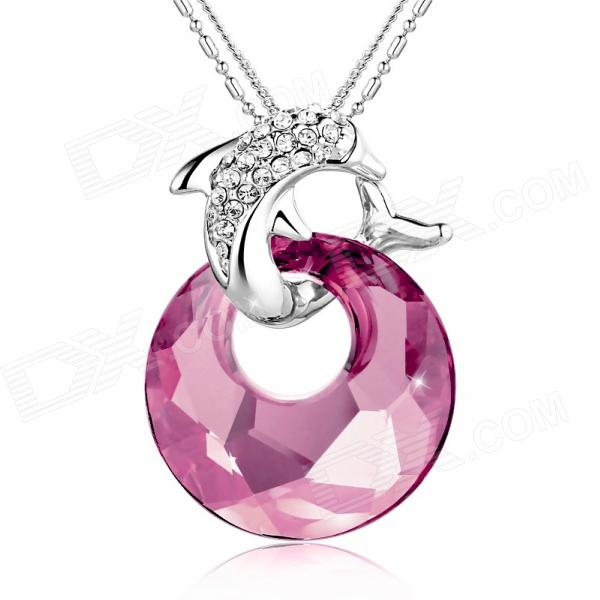 EQute Elegant Crystal + Dolphin Pendant Necklace for Women - Silver + Pink 925 silver plated necklace with crystal dolphin pendant 42cm