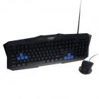 Goldpo GP-988 PS/2 Wired 104-Key Gaming Keyboard + Wired USB Mouse Set - Black + Blue