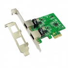 IOCREST IO-PCE8111-2GLAN PCI-Express Dual Gigabit Ethernet Controller Card RTL8111 Chipset - Green