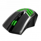 Dare-u JX5 800~2800dpi Green LED USB Wired Gaming Mouse - Black + Silver