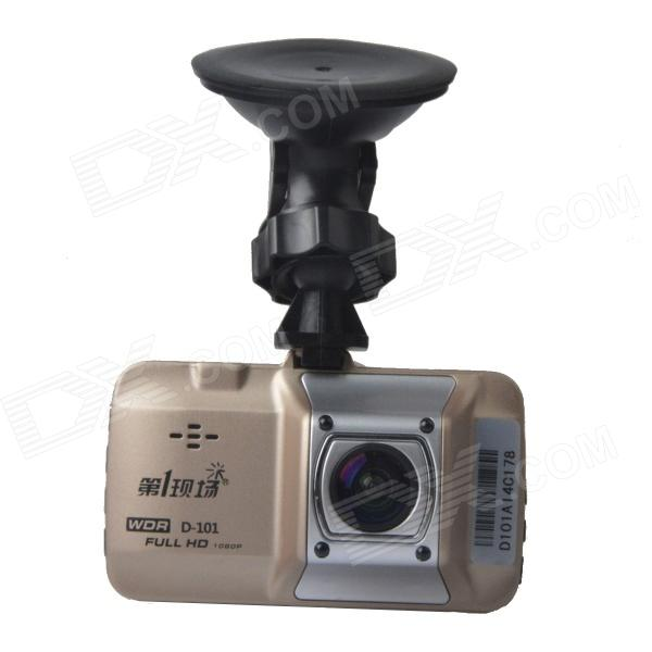 "DYXC D-101 3.0"" TFT 12.0 MP WDR HD 1080P Wide Angle Car DVR Camcorder w/ G-sensor - Champagne Gold"
