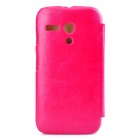 PUDINI WB-MotoG Protective PU Leather + PC Voltear caja abierta w / Stand para MOTO G - Rosa