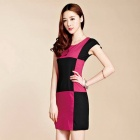 New Women's Fashion Lattice Stitching Sleeve Slim Dress - Black + Deep Pink (Size M)