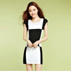 New Women's Fashion Lattice Stitching Slim Dress - Black + White (Size L)