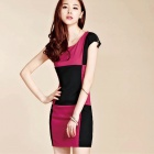 New Women's Fashion Lattice Stitching Sleeve Slim Dress - Black + Deep Pink (Size L)