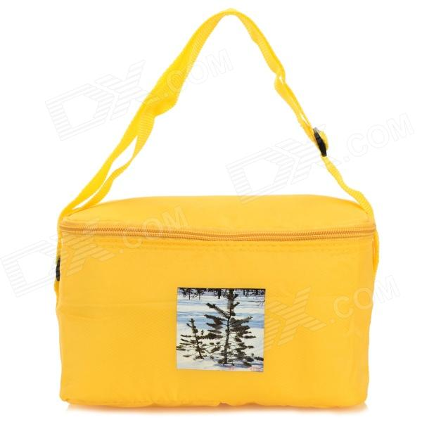 Creeper Oxford + Aluminum Film Ice Heat Insulation Lunch Shoulder Bag - Yellow