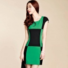 New Women's Fashion Lattice Stitching Sleeve Slim Dress - Black + Green (Size M)