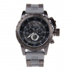 Super Speed V6 NO.V0205 Fashion Men's Silicone Band Quartz Wrist Watch - Grey + Black