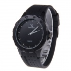 Super Speed V6 NO.V0231 Fashion Men's Black Round Dial Silicone Band Quartz Wrist Watch