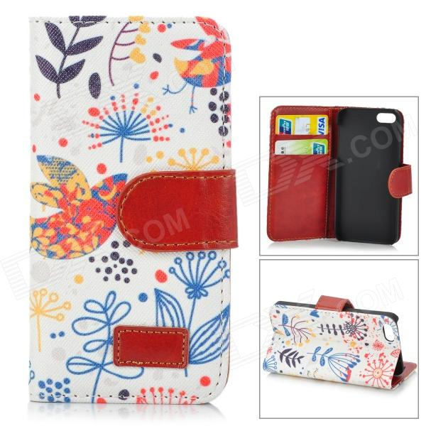 Retro Style Cuckoo Pattern Stylish Protective Flip Open Case w/ Stand / Card Slots for IPHONE 5 / 5S plaid pattern protective pu flip open case w stand card slots for iphone 5 5s white