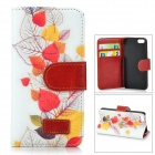 Retro Style Maple Leaves Pattern Flip Open PU Leather Case w/ Stand / Card Slots for IPHONE 5 / 5S