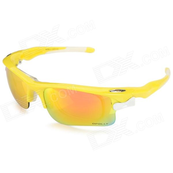 OPOLLY OP105 Polarization Cycling PC Lens TR90 Frame Sunglasses w/ Replacement Lens - Yellow topeak outdoor sports cycling photochromic sun glasses bicycle sunglasses mtb nxt lenses glasses eyewear goggles 3 colors