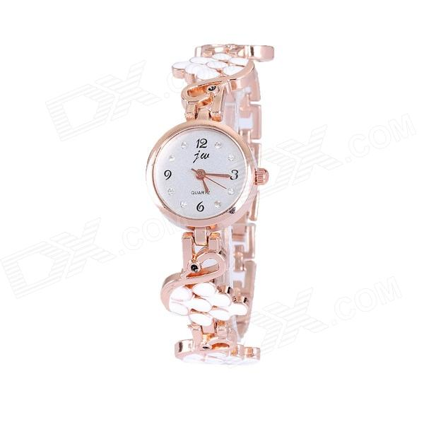 JW Swan Style Women's Quartz Wrist Watch w/ Crystal Inlaid - Golden + White (1 x 377)