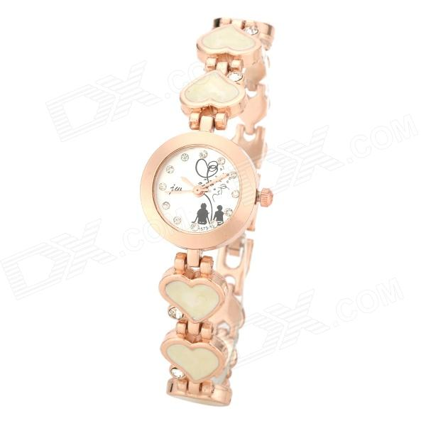 JW Fashionable Heart Style Women's Quartz Wrist Watch w/ Crystal Inlaid - Black + Golden (1 x 377)