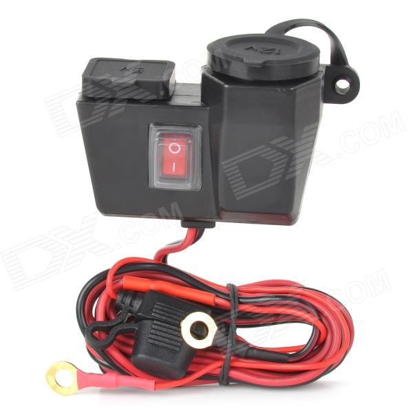 DIY Cigarette Lighter Socket Adapter w/ Dual Universal USB Charging Connector for Motorcycle - Black
