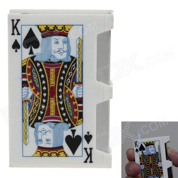 6128 Playing Card Spades-K Style Electric Shock Butane Jet Lighter Tricky Toy - White + Red