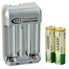 BTY 809+3000*4 US-Plug 4-Slot Charger w/ 4 x 3000mAh Batteries Set - White + Green + Multi-Colored
