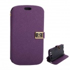 PU Case Cover w/ Stand Card Slots for Samsung Galaxy S3 i9300 - Purple