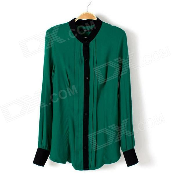 Women's Stylish Chiffon Long-Sleeved Blouse Shirt  - Green (M)