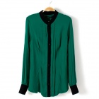 Women's Stylish Chiffon Long-Sleeved Blouse Shirt - Green (L)