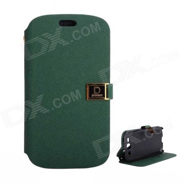 Protective PU Leather Case Cover Stand w/ Dual Card Slots for Samsung Galaxy S3 i9300 - Black Green protective pu leather case cover stand w dual card slots for samsung galaxy s3 i9300 black green