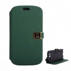 Protective PU Leather Case Cover Stand w/ Dual Card Slots for Samsung Galaxy S3 i9300 - Black Green