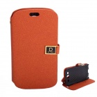 Protective PU Leather Case Cover Stand w/ Dual Card Slots for Samsung Galaxy S3 i9300 - Orange