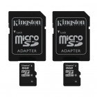 Kingston 16GB microSDHC Class 10 Flash Memory Cards with SD Adapter (2PCS)