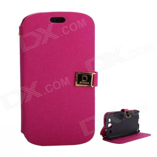 Protective PU Leather Case Cover Stand w/ Dual Card Slots for Samsung Galaxy S3 i9300 - Deep Pink protective pu leather case w card slot for samsung galaxy tab3 p3200 deep pink