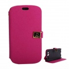 Protective PU Leather Case Cover Stand w/ Dual Card Slots for Samsung Galaxy S3 i9300 - Deep Pink