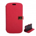 Protective PU Leather Case Cover Stand w/ Dual Card Slots for Samsung Galaxy S3 i9300 - Red