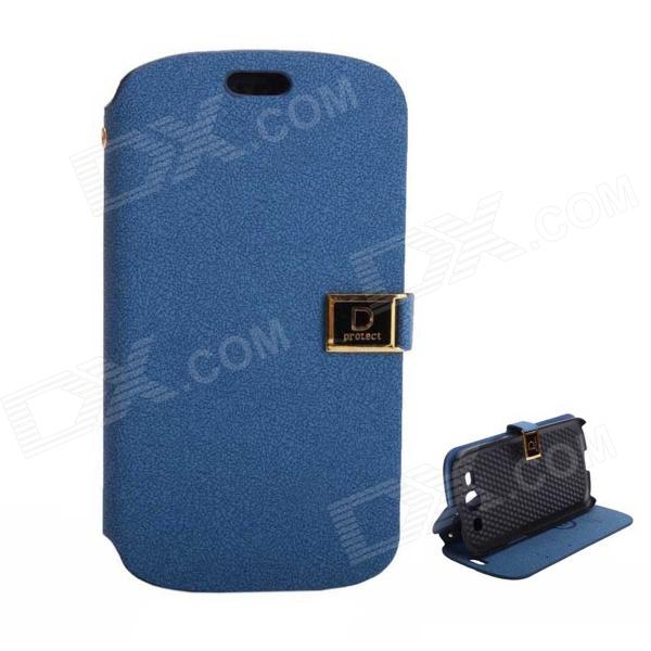Protective PU Leather Case Cover Stand w/ Dual Card Slots for Samsung Galaxy S3 i9300 - Deep Blue protective pu leather case cover w visual window for samsung galaxy s3 i9300 deep blue