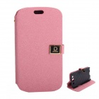Protective PU Leather Case Cover Stand w/ Dual Card Slots for Samsung Galaxy S3 i9300 - Pink