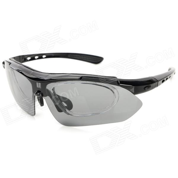 0101 Stylish Cycling Sports PC Lens Frame Sunglasses Set w/ Replacement Lenses - Grey + Black
