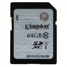 Kingston SDXC 64GB UHS-I class10 Read: 80MB/s SD10VG2/64GB
