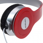 VONSOM VS8708 Fashionable Headphones w/ Line Control - Red + Gray (3.5mm Plug / 100cm-Cable)