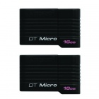 Kingston Digital 16GB DataTraveler Micro USB 2.0 Drives DTMCK/16GB (2PCS)