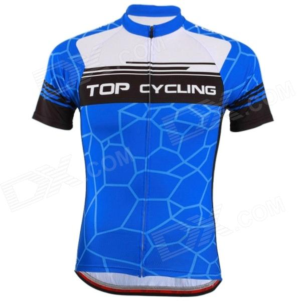 TOP CYCLING SAE270 Men's Polyester Short-sleeved Cycling Jersey - Blue (L)